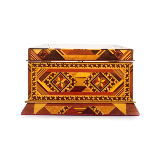Mid 19th Century Vintage Geometrical Design Wooden Jewelry Box For Sale - Image 5 of 9