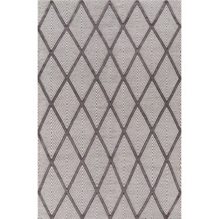 "Erin Gates by Momeni Langdon Spring Charcoal Hand Woven Wool Area Rug - 90"" X 114"" For Sale"