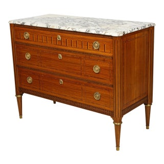 A Fine Louis XVI Style Parquetry Marble-Top Commode For Sale