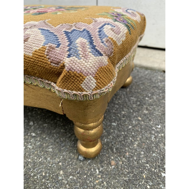 Vintage Needlepoint Footstool For Sale - Image 10 of 13