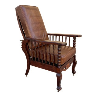 Original Antique Morris Reclining Chair With Reversible Leather and Velvet Seat For Sale