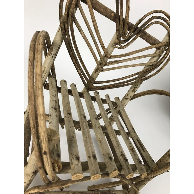 Wood Bent Twigs Heart Chair Plant Stand For Sale - Image 7 of 10