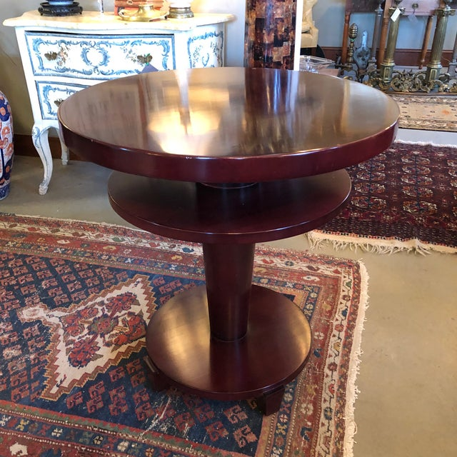 Vintage circa 1980s Swaim Furniture Art Deco/industrial age style two tiered mahogany stained round occasional table....