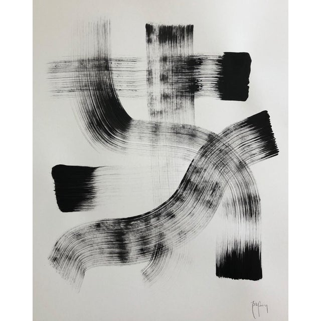 Black & White Modern Abstract Painting by Tony Curry For Sale