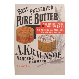 1900s Original Danish Advertisement Poster - Best Preserved Pure Butter For Sale