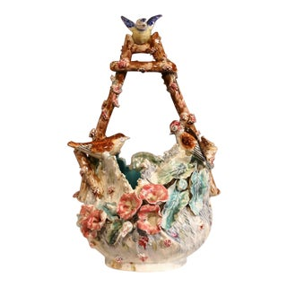 19th Century French Hand-Painted Barbotine Jardiniere With Birds and Flowers