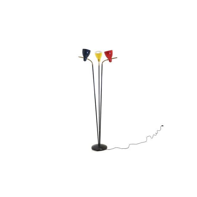 Striking Italian three shade floor lamp. Red, yellow, and black shades.