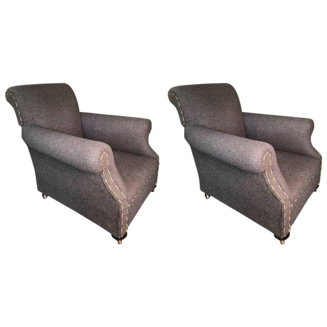 Pair of Rolled Arm Club Chairs For Sale
