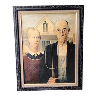 Vintage Framed Print - American Gothic by Grant Wood For Sale