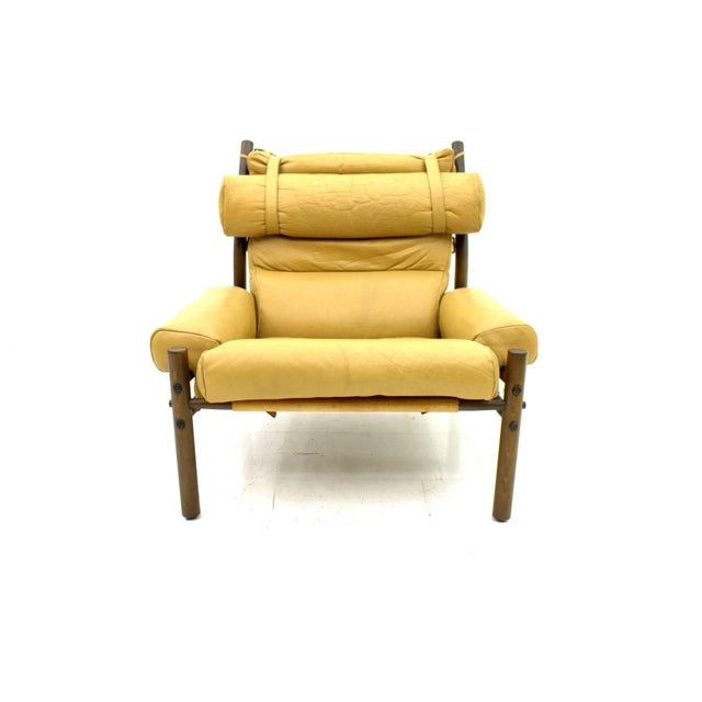 "Very comfortable lounge chair ""Inca"" by Arne Norell, Sweden, 1965. Solid Wood and beige leather. Measurements: H 110 cm, T..."