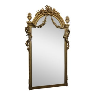 19th Century Louis XVI Carved Gilt Mirror For Sale