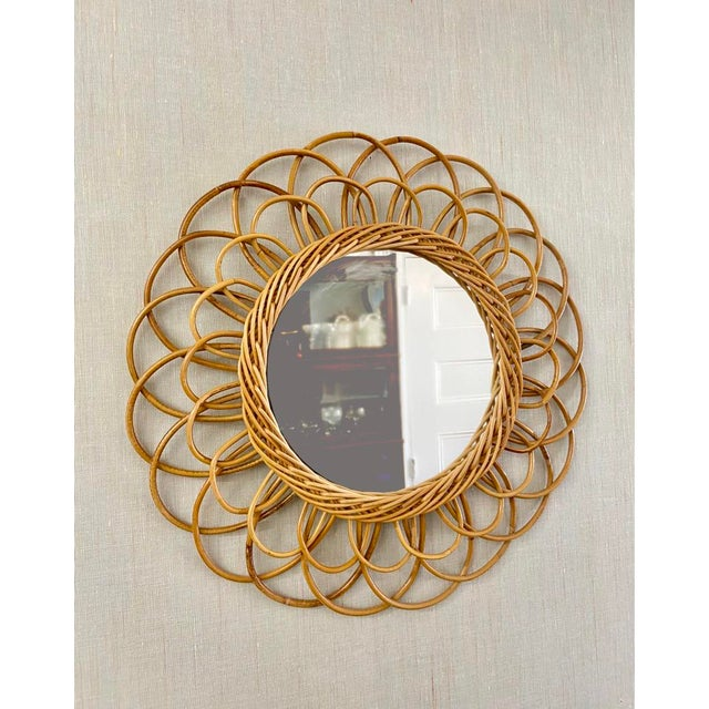 Vintage French Rattan Mirror For Sale In Philadelphia - Image 6 of 6