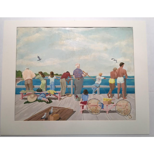 "Mid-Century Mary M. Kennedy ""Muscle Beach"" Painting - Image 2 of 8"