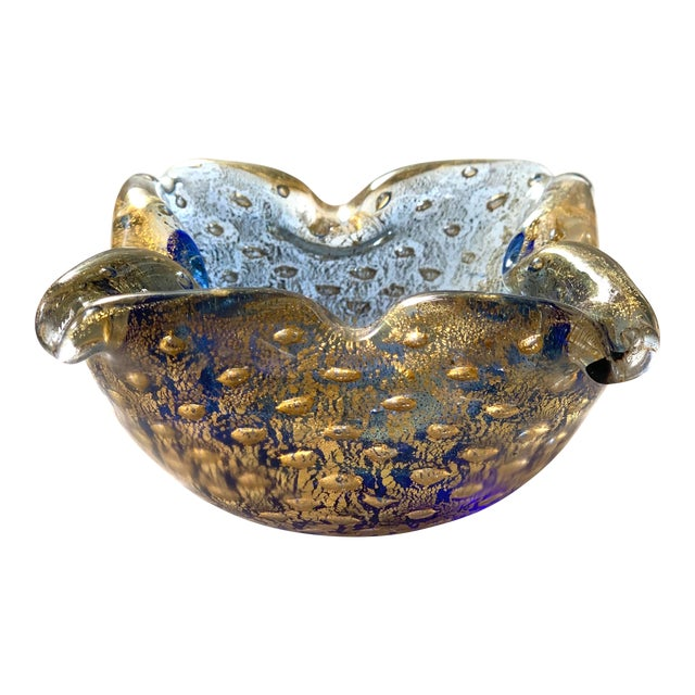 Vintage Art Glass Gold Leaf Ashtray For Sale