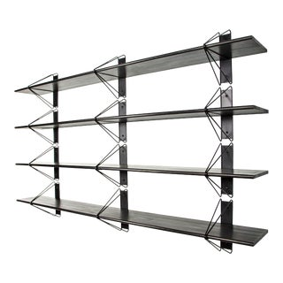 "Modern Ash Painted Black Strut Shelving - 52"" For Sale"
