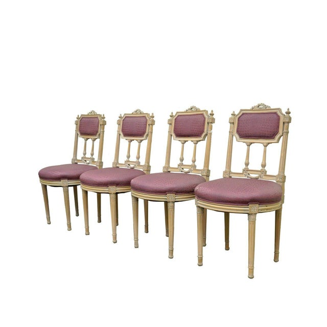 Vintage French Louis XVI Style Drape & Bow Carved Painted Dining Chairs - Set of 4 - Image 11 of 11