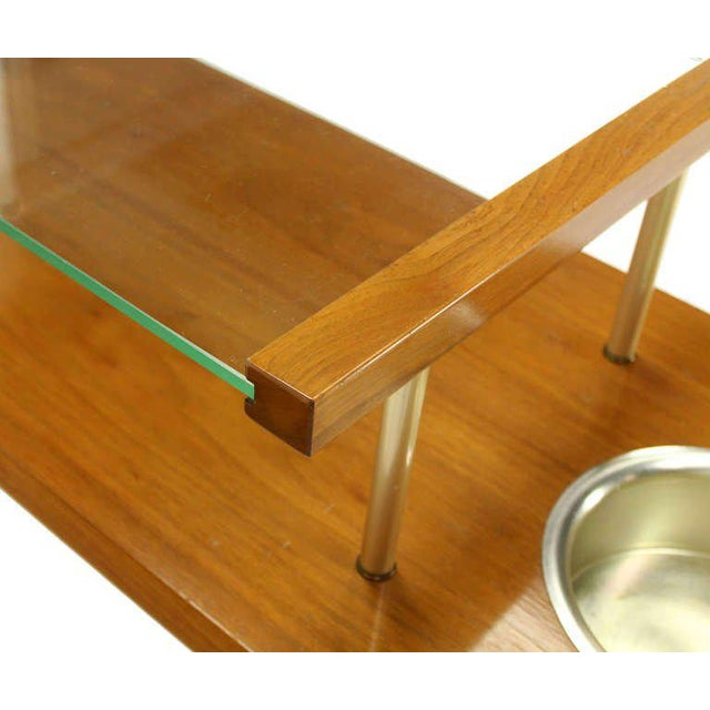 Mid-Century Modern Walnut and Glass-Top Console Table With Planters For Sale - Image 9 of 10