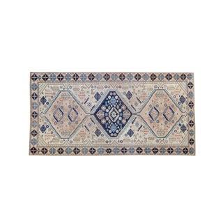 House of Séance - 1970s Vintage Anatolian Animal Motif Geometric Medallion Wool Oushak Runner - 3′6″ × 6′11″ For Sale