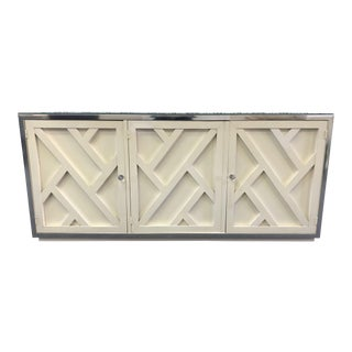 Vintage Fretwork Cream Wood Credenza With Mirror Top