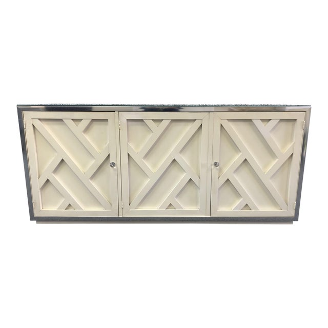 Vintage Fretwork Cream Wood Credenza With Mirror Top For Sale