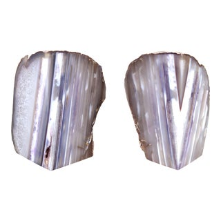 Natural Polished Agate Specimen Bookends - a Pair For Sale