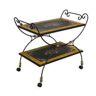 Sarreid Paint Decorated Iron Serving Cart For Sale