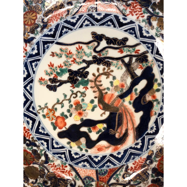 Imari Porcelain Chinese Imari Style Hand Painted Charger For Sale - Image 4 of 7