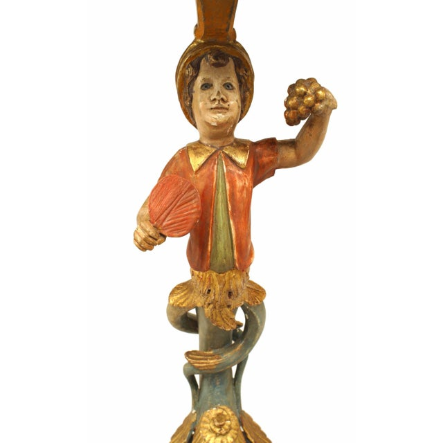 19th-20th Century Italian Venetian Style Polychromed Pedestal Stand For Sale - Image 4 of 5