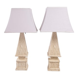 1960s Bamboo Pyramid Table Lamps - a Pair For Sale