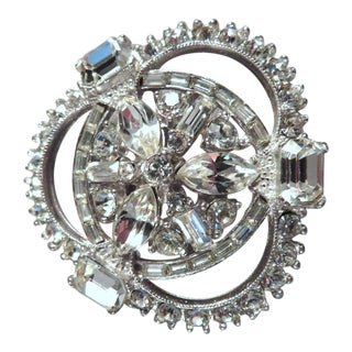 1940's Vintage Bogoff Rhodium Plated Paste Rhinestone Brooch For Sale