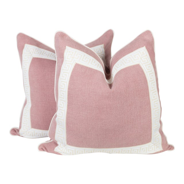 Pink Linen & Ivory Greek Key Pillows - A Pair For Sale