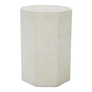 1990s Postmodern Octagonal Distressed Plaster Side Table or Pedestal For Sale