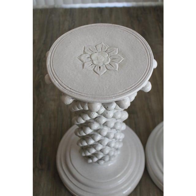 Italian Pair of Italian Ceramic Pedestals Attributed to Fantoni For Sale - Image 3 of 7