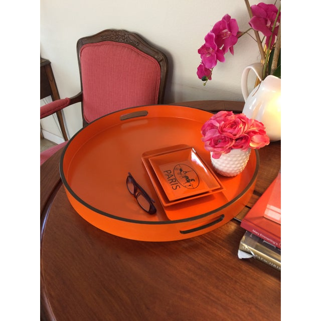 """Hermes Orange Inspired 21"""" Round Bar Serving Tray For Sale - Image 12 of 13"""