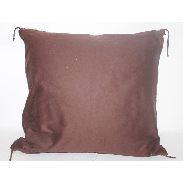 Animal Skin Navajo Indian Weaving Saddle Blanket Pillow With Leather Trim For Sale - Image 7 of 9