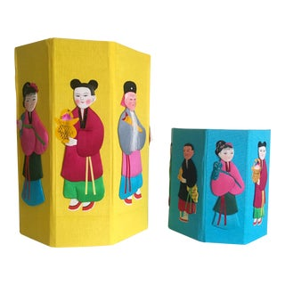 """Rare Vintage Mid Century Chinese """" Eight Immortals """" Silk Covered Handcrafted Octagon Container Boxes - a Pair For Sale"""