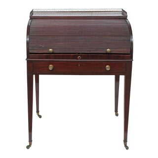 A George III Mahogany Tambour Desk For Sale