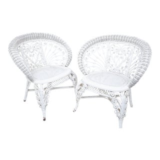 Heywood Company Victorian White Wicker Parlor Armchair Set - a Pair For Sale