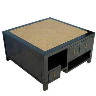 Asian Modern Square Rattan Top Coffee Table For Sale