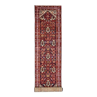 Antique Persian Malayer Runner with Ivory Spandrels, Long Persian Runner