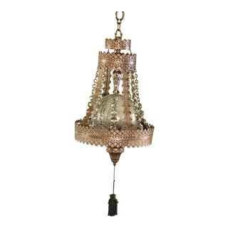 1960s Mid-Century Modern Filigree & Crystal Swag Light For Sale