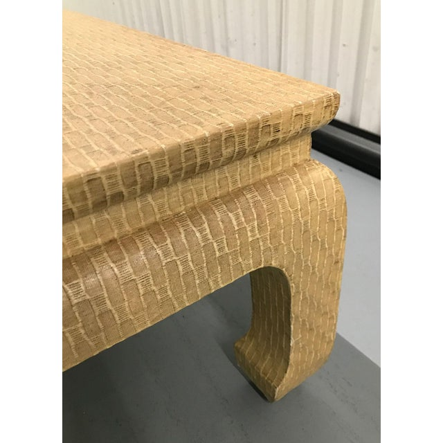 Tan Vintage 1980s Baker Raffia-Covered Asian-Inspired Occasional Table For Sale - Image 8 of 12