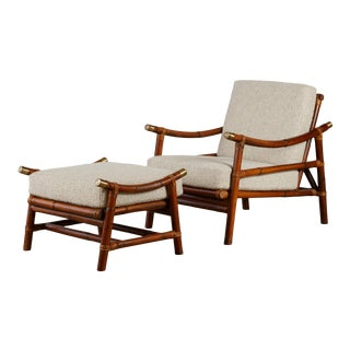 John Wisner for Ficks Reed Lounge Chair and Ottoman For Sale