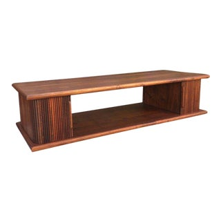 Mid-Century Modern Walnut Coffee Table With Tambour Doors For Sale