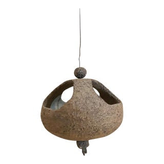 60s Mod Atomic Stan Bitters Style Ceramic Hanging Planter Bird House Pottery For Sale