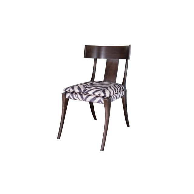 Product Features: Semi-attached Seat Wood Frame In Choice Of Custom Finishes as Shown Fabric: Zebra (ink/ivory) Finish:...