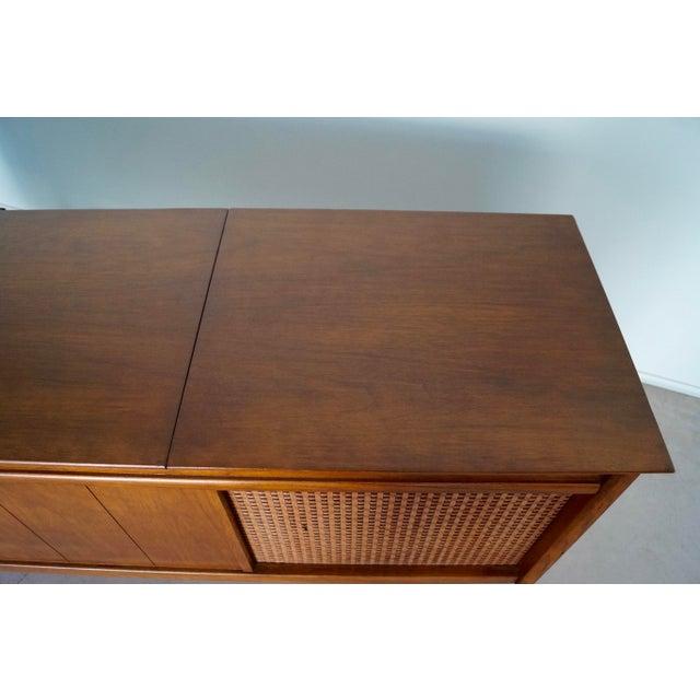 1960s Danish Modern Silvertone Walnut Record Console For Sale - Image 9 of 13