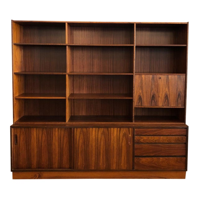 Danish MCM Rosewood 2 Piece Display/Credenza With Drop Leaf Bar For Sale