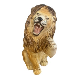 Italian Ceramic Lion Figurine For Sale