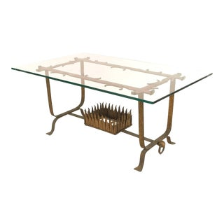 1930s Italian Renaissance Style Gilt Wrought Iron and Glass Coffee Table For Sale